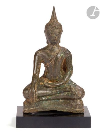 THAÏLANDE - XVIIe siècle Statuette en bronze...