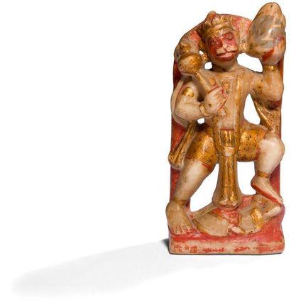 INDE - XVIIIe / XIXe siècle Groupe en albâtre sculptée polychrome, Hanuman debout,...