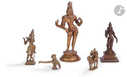 INDE - XXe siècle Ensemble de cinq statuettes...