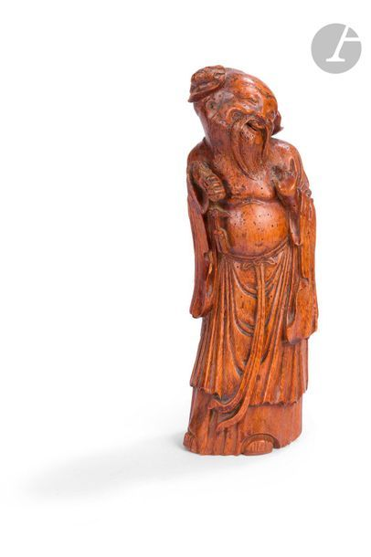 CHINE Statuette en bambou d'immortel debout...