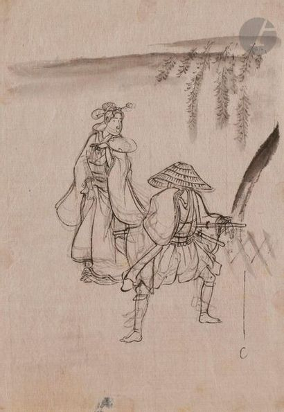 École japonaise - XIXe siècle Samouraï et...