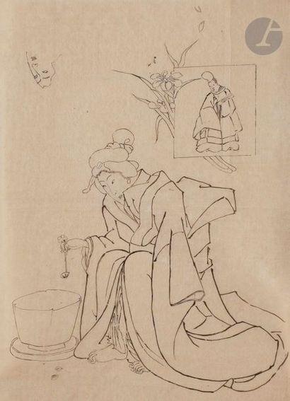 École japonaise - XIXe siècle Samouraï et jeune femme ; jeune femme avec une cuillère....