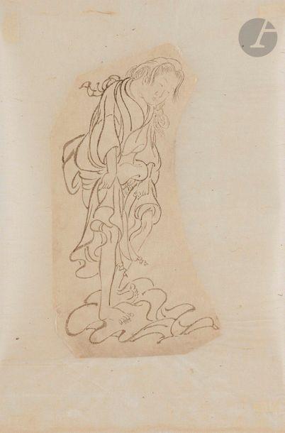 Attribué à Hanabusa ITCHO (1652 - 1724) Garçon coupant des pousses de bambous ;...