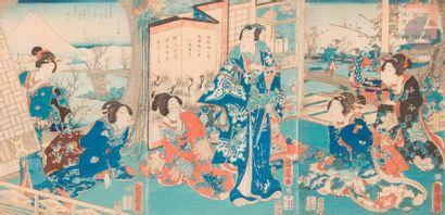 Toyohara Kunichika (1835 - 1900) Triptyque...