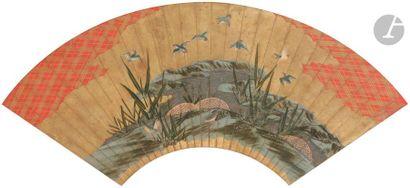 JAPON - XIXe siècle Projet d'éventail, encre,...