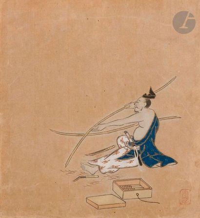 JAPON - XIXe siècle Artisan travaillant les...