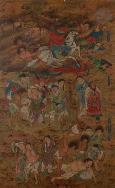 CHINE - XVIIIe / XIXe siècle Encre et couleurs...