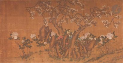 CHINE - XIXe siècle Encre et couleurs sur...