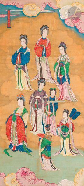 CHINE - XIXe siècle Ensemble de deux peintures,...