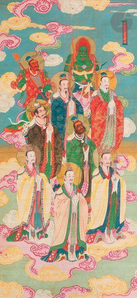 CHINE - XIXe siècle Ensemble de deux peintures, encre et couleurs sur soie, représentant...