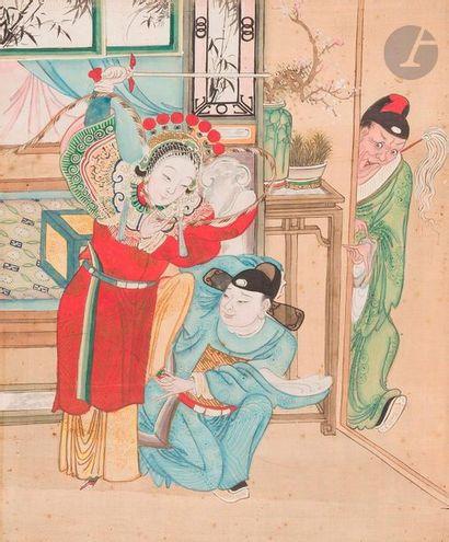 CHINE - Fin XIXe siècle Ensemble de six peintures...