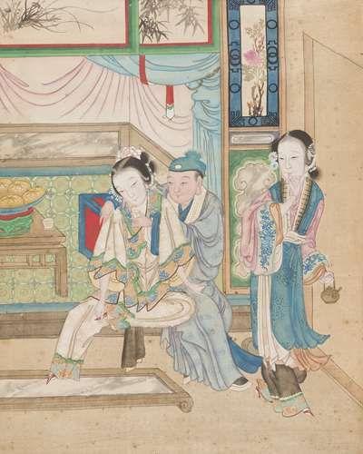 CHINE - Fin XIXe siècle Ensemble de six peintures chinoises, encre et couleurs sur...