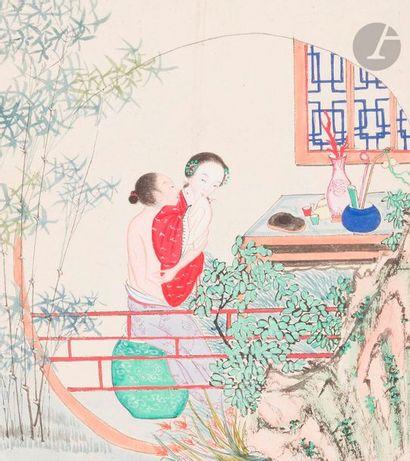 CHINE - Fin XIXe siècle Album d'encre et...