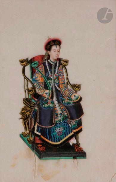 CHINE, Canton - XIXe siècle Ensemble de douze...