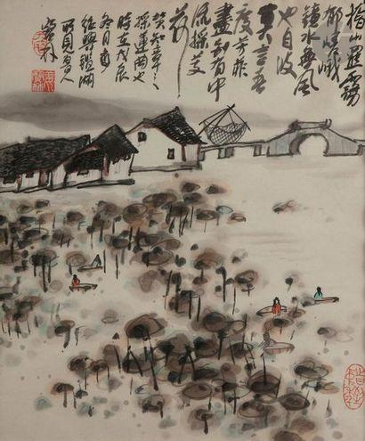 Jiang BAOLING (1942 - ?) Village dans un...