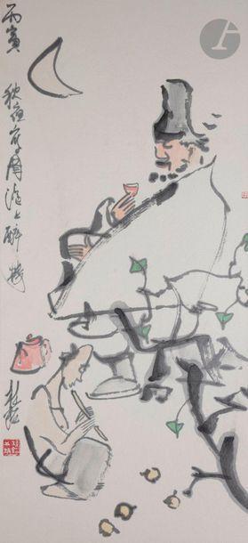 Zhang GUIMING (1939 - 2014) Homme buvant...
