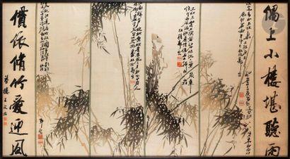 CHINE - XXe siècle Panneau en soie écrue...