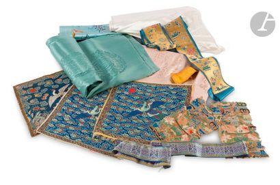 CHINE - XIXe siècle Ensemble de textiles...
