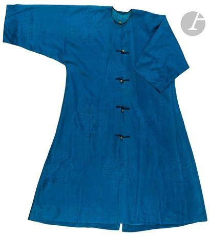 CHINE - Fin XIXe siècle Veste en soie bleue...