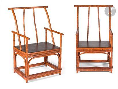 CHINE - XIXe siècle Paire de fauteuils en...