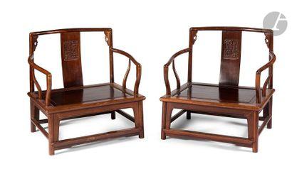 CHINE - Fin XIXe siècle Paire de fauteuils...