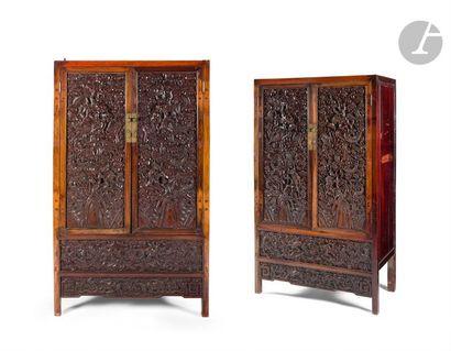 CHINE - XIXe siècle Paire d'armoires en bois...