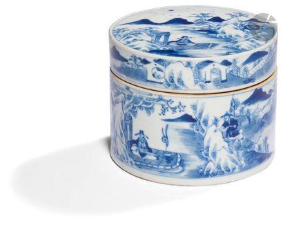 CHINE - Fin XIXe siècle Boîte ronde en porcelaine...