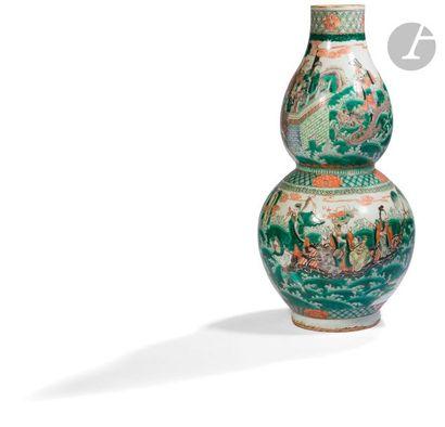 CHINE - XIXe siècle Vase double gourde en...