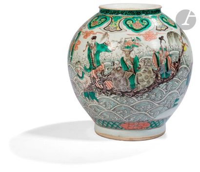 CHINE - XIXe siècle Pot en porcelaine émaillée...