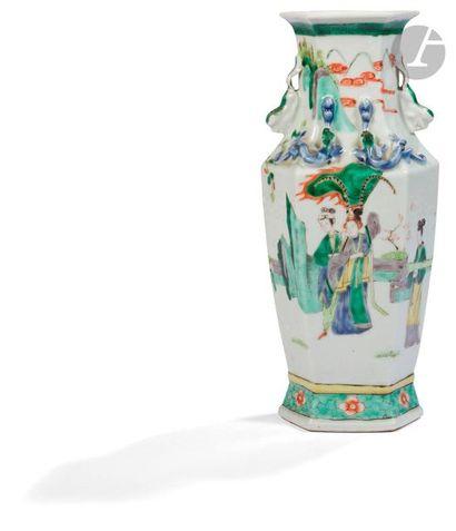 CHINE - Fin XIXe siècle Vase balustre à facettes...