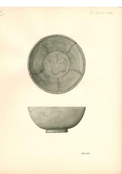 CHINE - Époque SONG (960 - 1279) Petit bol en grès émaillé vert céladon à décor...
