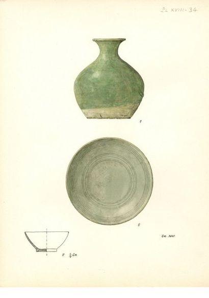 CHINE - Époque SONG (960 - 1279) Ensemble comprenant un petit bol et un petit vase...