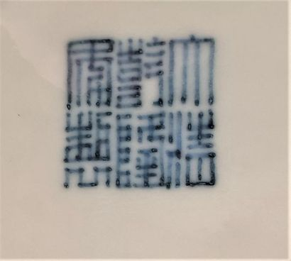 CHINE - XXe siècle Vase à panse basse en porcelaine émaillée en bleu sous couverte...