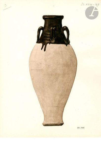 CHINE - XIIIe / XIVe siècle Jarre en terre cuite émaillée brun au col à quatre anses....