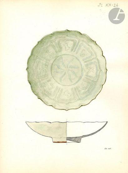 VIETNAM - XIIe / XIIIe siècle Ensemble comprenant : - Coupe polylobée en grès émaillé...