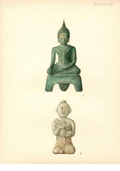THAÏLANDE - XIIIe siècle à XVe siècle Ensemble comprenant : - Huit petites jarres...