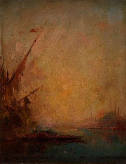 Henri DUVIEUX (1855-1902) Vue de Constantinople...