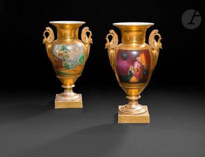 Paire de vases à décor de turqueries et de...