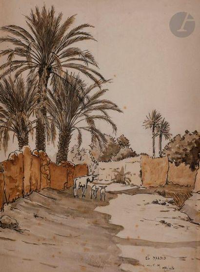 éCOLE ORIENTALISTE El Maadid, 1929 Aquarelle...