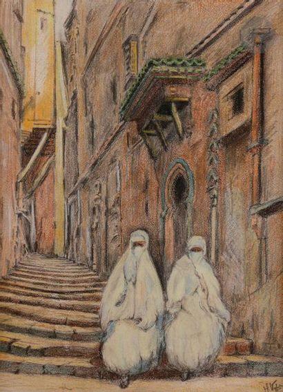 éCOLE ORIENTALISTE Deux femmes sur les marches...