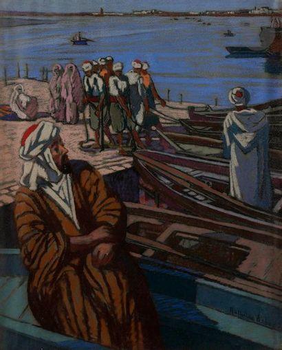 Mathilde ARBEY (1890-1966) Pêcheurs à Salé,...