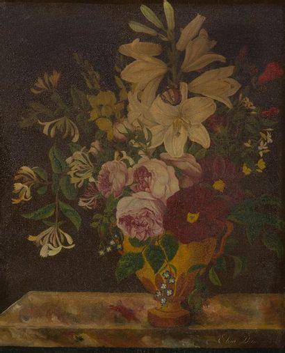 École FRANÇAISE, 1823  Vase de fleurs sur...