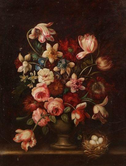 École FRANÇAISE vers 1900  Bouquet de fleurs...