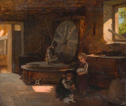 École du XIXe siècle  Intérieur animé  Toile....