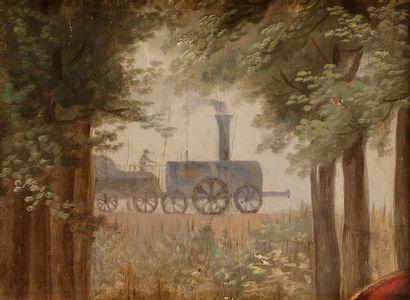 École NAÏVE VERS 1900  La Locomotive  Carton....