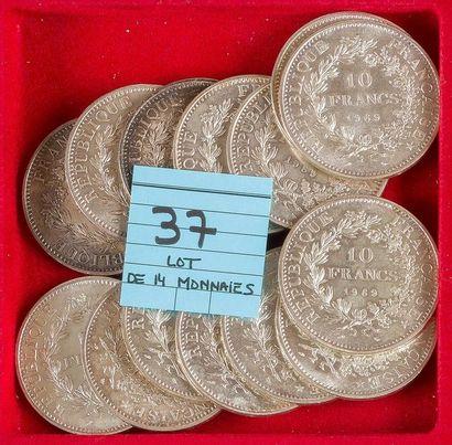 MONNAIES FRANÇAISES DE LA CINQUIEME REPUBLIQUE (1959 - ). LOT de 14 pièces de 10...