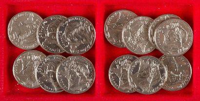 MONNAIES FRANÇAISES DE LA CINQUIEME REPUBLIQUE (1959 - ). LOT de 18 pièces de 10...