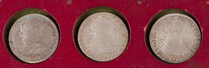 MEXIQUE. LOT de 3 pièces de 8 réaux, 1787,...