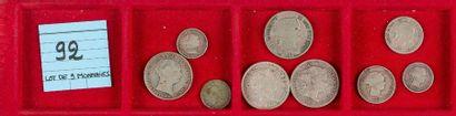 LOT de 9 monnaies divisionnaires en argent...