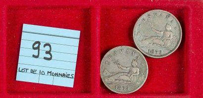LOT de 10 monnaies divisionnaires en argent...